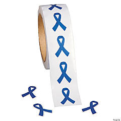 Blue Ribbon Awareness Roll of Stickers