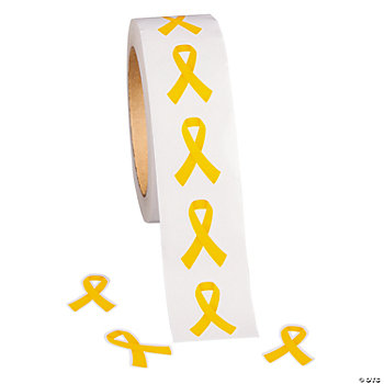 Yellow Awareness Ribbon Stickers
