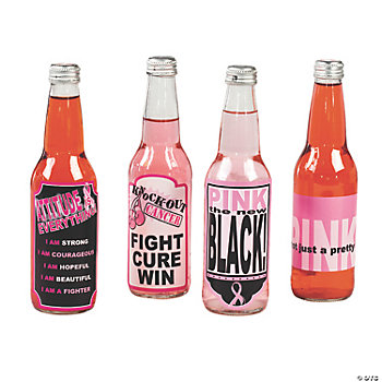 Pink Ribbon Bottle Labels