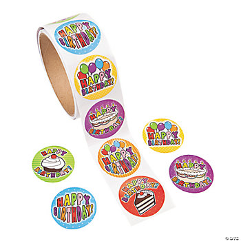 100 Birthday Roll Stickers