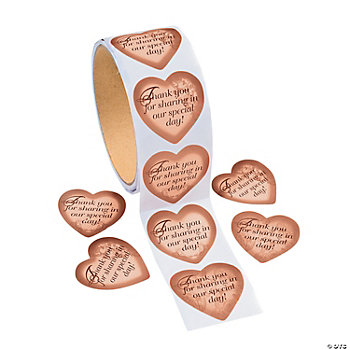 "Gold Heart ""Thank You"" Roll Stickers"