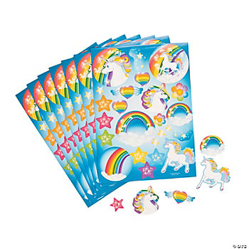 12 Unicorn Party Sticker Sheets
