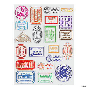 Passport Stamp Sticker Sheets