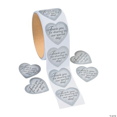 Silver Heart Thank You Stickers