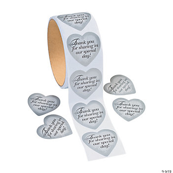 "Silver Heart ""Thank You"" Roll Stickers"