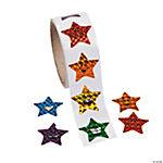Laser Smiling Stars Roll Stickers