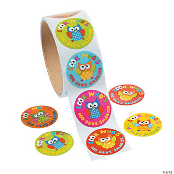 """100 Days Smarter"" Owl Roll Stickers"