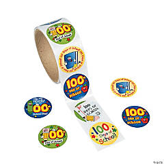 Paper 100th Day of School Roll of Stickers