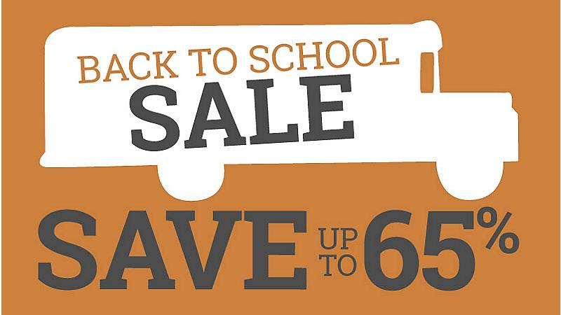 Back to school sale, save up to 65% off
