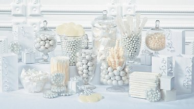 party supplies white candy buffet