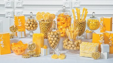party supplies yellow candy buffet