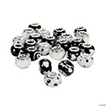 Black & White Large Hole Beads - 14mm