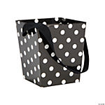 Black Polka Dot Buckets with Ribbon Handle