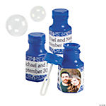 Blue Custom Photo Hexagon Bubble Bottles