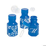 Blue Script Monogram Wedding Mini Bubble Bottles