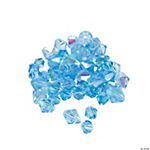 Blue Topaz Aurora Borealis Cut Crystal Bicone Beads - 4mm-6mm