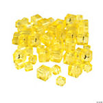 Canary Yellow Cube Cut Crystal Beads - 4mm-6mm