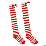 Candy Cane Thigh High Socks with Faux Fur Trim