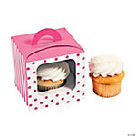 Candy Pink Polka Dot Cupcake Boxes with Handle