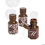 Chocolate Brown Script Monogram Wedding Mini Bubble Bottles