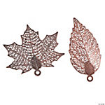 Copper-Tone Leaf Pendants - 32mm-40mm