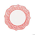 Coral Chevron Scalloped Edge Dinner Plates