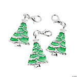 Enamel Christmas Tree Charms with Lobster Clasp