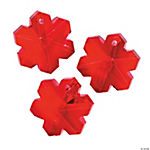 Faceted Red Snowflake Charms - 20mm