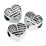 Flag Heart Large Hole Beads - 14mm