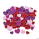 Glittered Heart Foam Beads