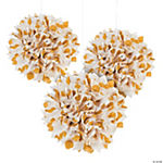 Gold Polka Dot Tissue Pom-Pom Decorations