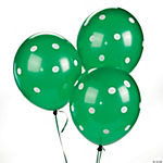 Green Polka Dot Latex Balloons