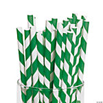 Green Striped Paper Straws