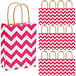 Hot Pink Chevron Kraft Bags