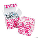 Hot Pink Damask Favor Boxes