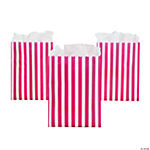 Hot Pink Striped Treat Bags