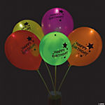illooms® LED Balloons Happy Birthday Light-Up Latex Balloons