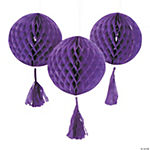 Italian Plum Honeycomb Tissue Balls with Tassel