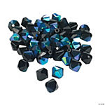 Jet Black Aurora Borealis Crystal Bicone Beads - 8mm