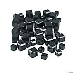 Jet Black Cube Cut Crystal Beads - 4mm-6mm