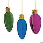 Large Glittered Christmas Bulb Hanging Decorations