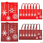 Large Red & White Snowflake Totes