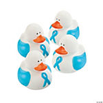 Light Blue Awareness Ribbon Rubber Duckies