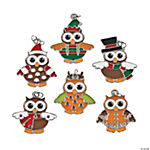 Metal Christmas Owl Enamel Charms