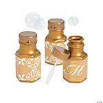 Metallic Gold Script Monogram Wedding Mini Bubble Bottles
