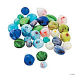 Mixed Shapes Marbelized Glass Beads - 4mm - 9mm