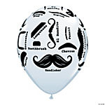 Mustache Printed Latex Balloons