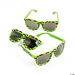 Neon Green Nomad Sunglasses with Mustache Print