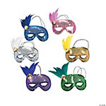 North High School Polar Bears Sequin & Feather Mardi Gras Masks
