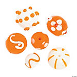 Orange & White Lampwork Beads - 15mm